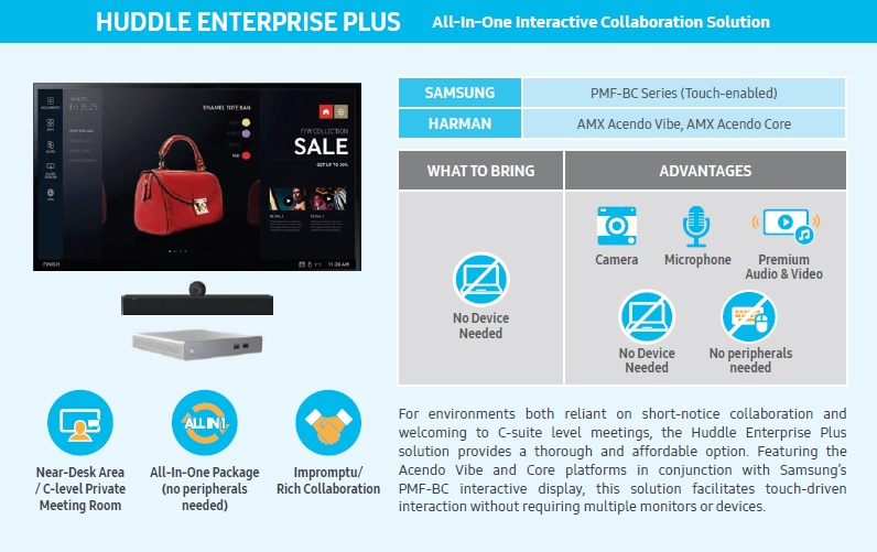 Samsung, Huddle Spaces Solutions, Almo Pro A/V, Huddle Standard, Huddle Premium