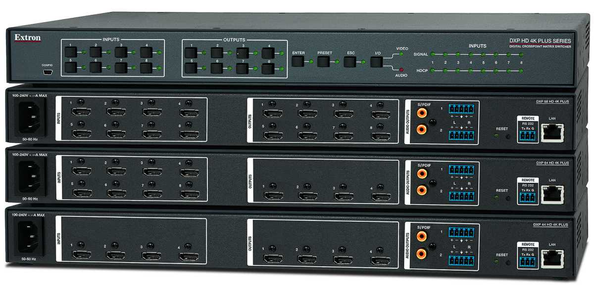 Extron DXPHD4KPLUS Series of HDMIMatrixSwitchers Is Now Shipping
