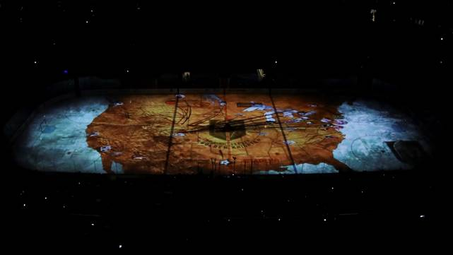 Christie projectors, on-ice projection mapping, Vegas Golden Knights, Las Vegas Shooting, Las Vegas Golden Knights Christie 2