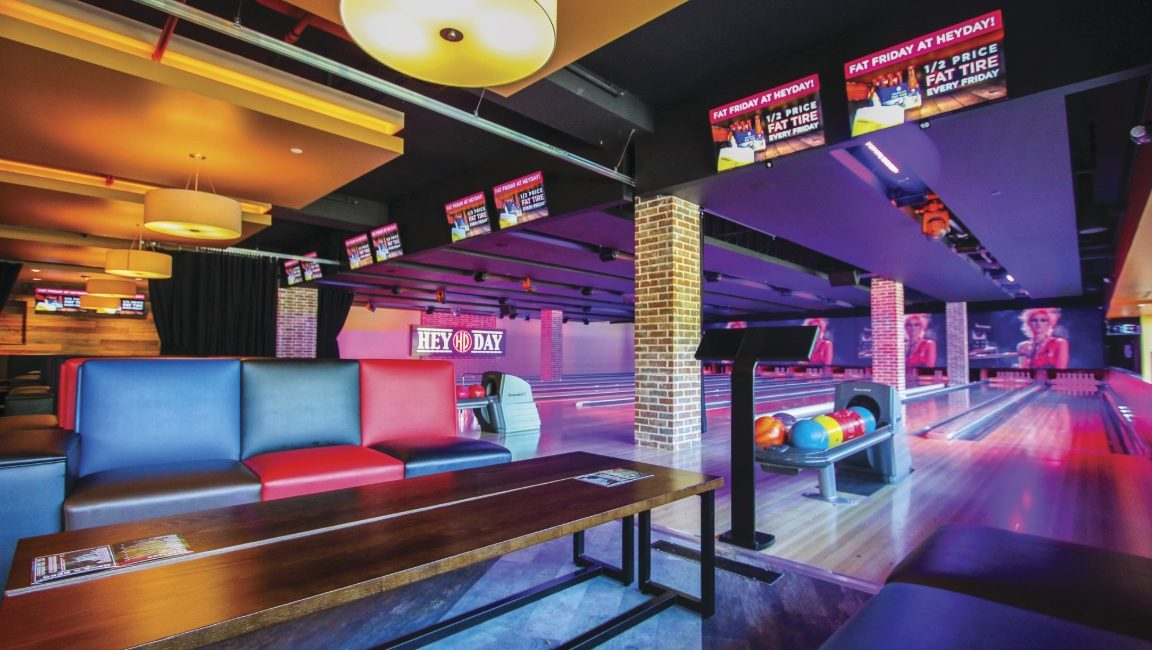 Ford AV Creates a 61-Foot LED Video Wall Above HeyDay's Bowling Lanes