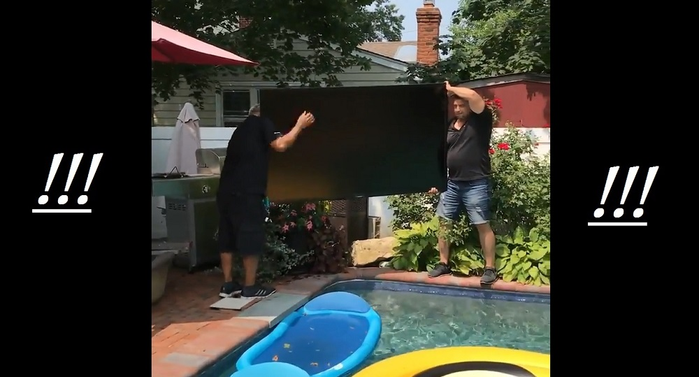 Hold Your Breath During the Most Tense Poolside TV Installation We've Ever Seen
