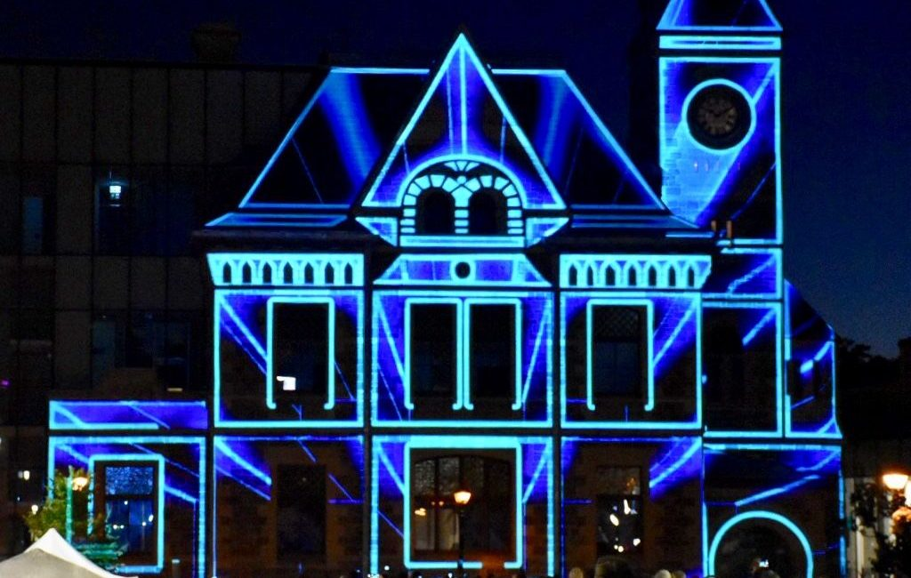 Old Galt Post Office Transforms to Digital Liry in ... Digital Projection Mapping on digital glasses, digital glass, digital compositing, digital illustration, digital drawing, digital technology, digital light, digital advertising, digital media, digital energy mapping, digital code, digital rendering,