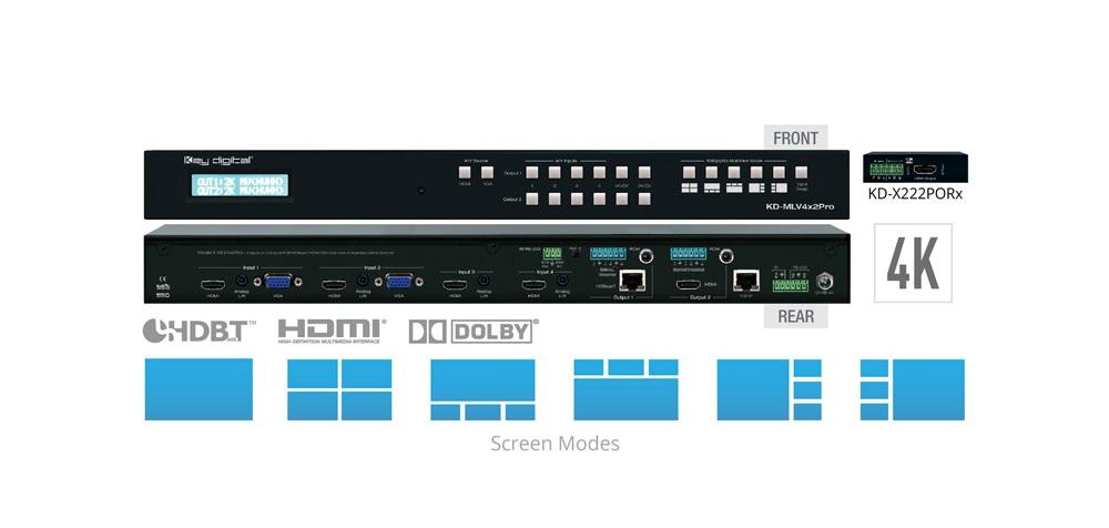 KeyDigitalKD-MLV4x2 PRO Video Matrix Targets Corporate AV