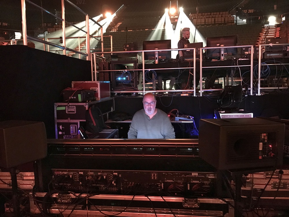 Ron Reaves behind one of Firehouse Productions' four DiGiCo consoles at the 19th Annual Latin GRAMMY Awards Show