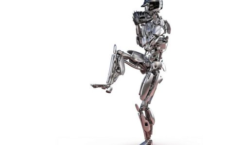 Robot baseball player in action, isolated. Cyborg robot artificial intelligence technology concept. 3D illustration