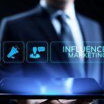 Influencer marketing Social media advertising business concept on screen.