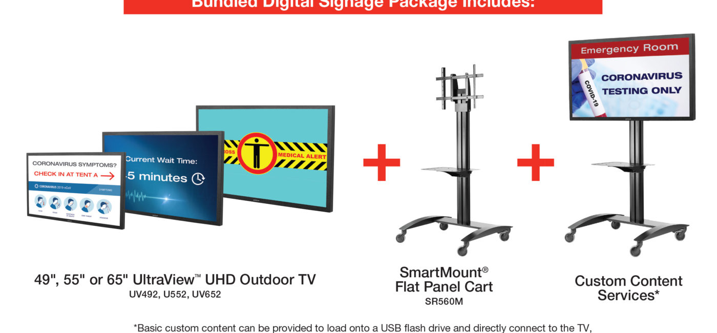 Peerless-AV Offers Digital Signage Bundles for COVID-19 Emergency Pop-Up Locations