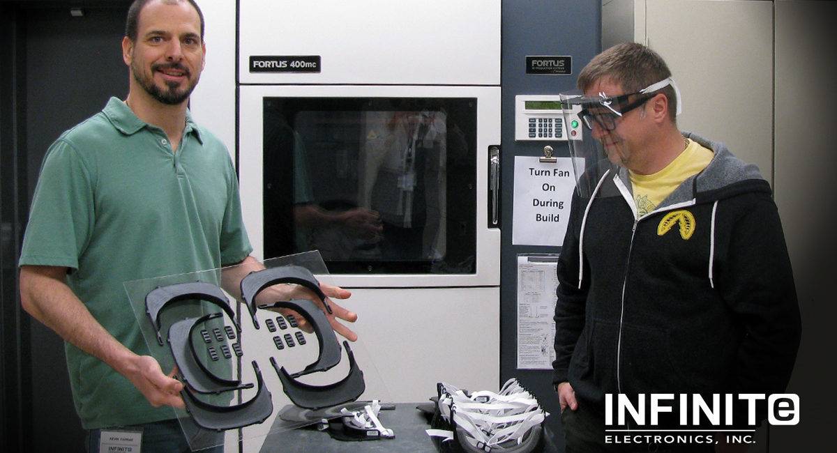 Infinite Electronics Produces and Donates 3D-Printed Reusable Face Shields
